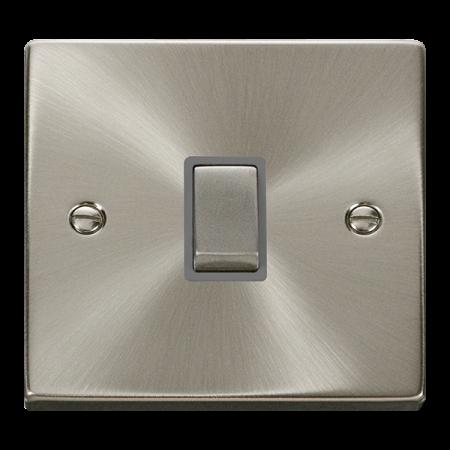 Click Deco Ingot Satin Chrome 20A Double Pole Switch Grey Insert   VPSC722GY