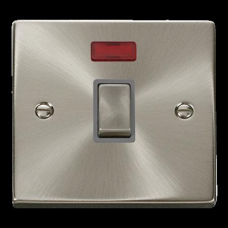 Click Deco Ingot Satin Chrome 20A Double Pole Switch & Neon Grey Insert   VPSC723GY