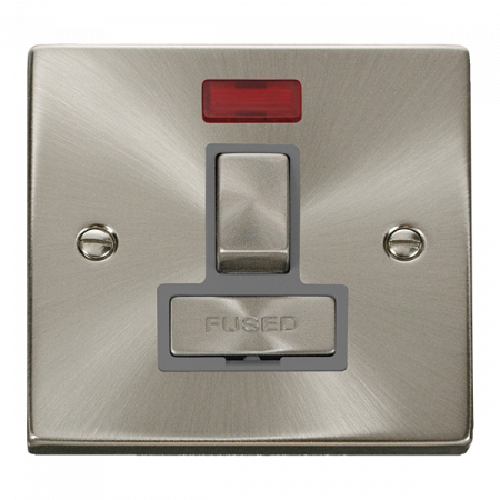 Click Deco Ingot Satin Chrome 13A Switched Fused Spur & Neon Grey Insert   VPSC752GY