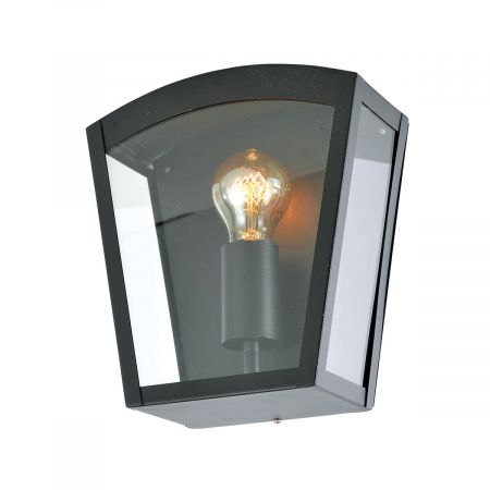 Zinc Artemis Curved Exterior Box Lantern Black ZN-20945-BLK