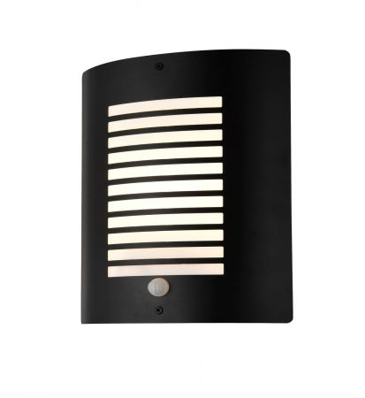 Zinc ZN-28708-BLK Sigma Panel Slatted PIR Wall Lantern Textured Black