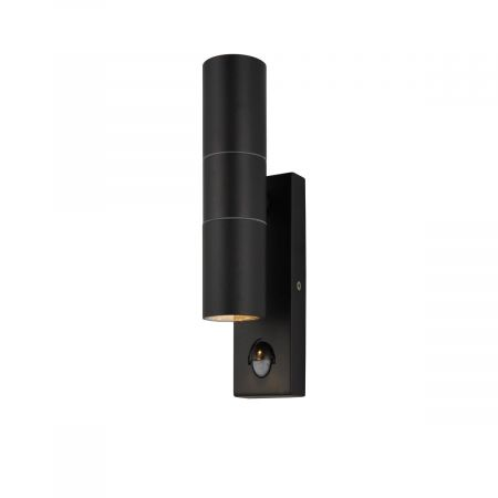 Zinc Leto PIR Up & Down IP44 Black Wall Light ZN-29179-BLK