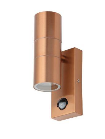 Zinc Leto PIR Up & Down IP44 Wall Light Copper | ZN-29179-COP