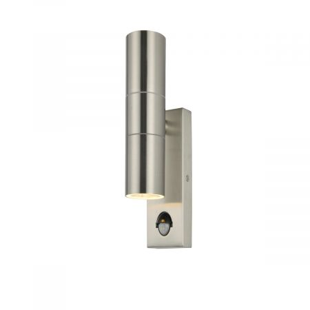Zinc Leto PIR Up & Down IP44 Stainless Steel Wall Light ZN-29179-SST