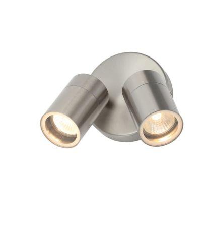 Zinc Leto Twin GU10 35w Wall Light Stainless Steel   ZN-34018-SST
