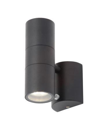 Zinc Leto Photocell GU10 Up & Down Wall Light Black | ZN-34022-BLK