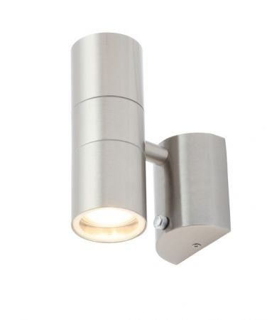 Zinc Leto Photocell GU10 Up & Down Wall Light Stainless Steel | ZN-34022-SST