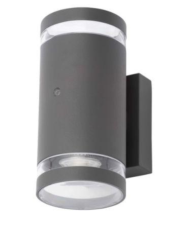 Zinc Lens Photocell Up and Down GU10 Wall Light Black | ZN-34042-BLK