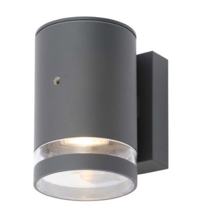 Zinc Lens Photocell 1Light GU10 Down Wall Light Black | ZN-34043-BLK