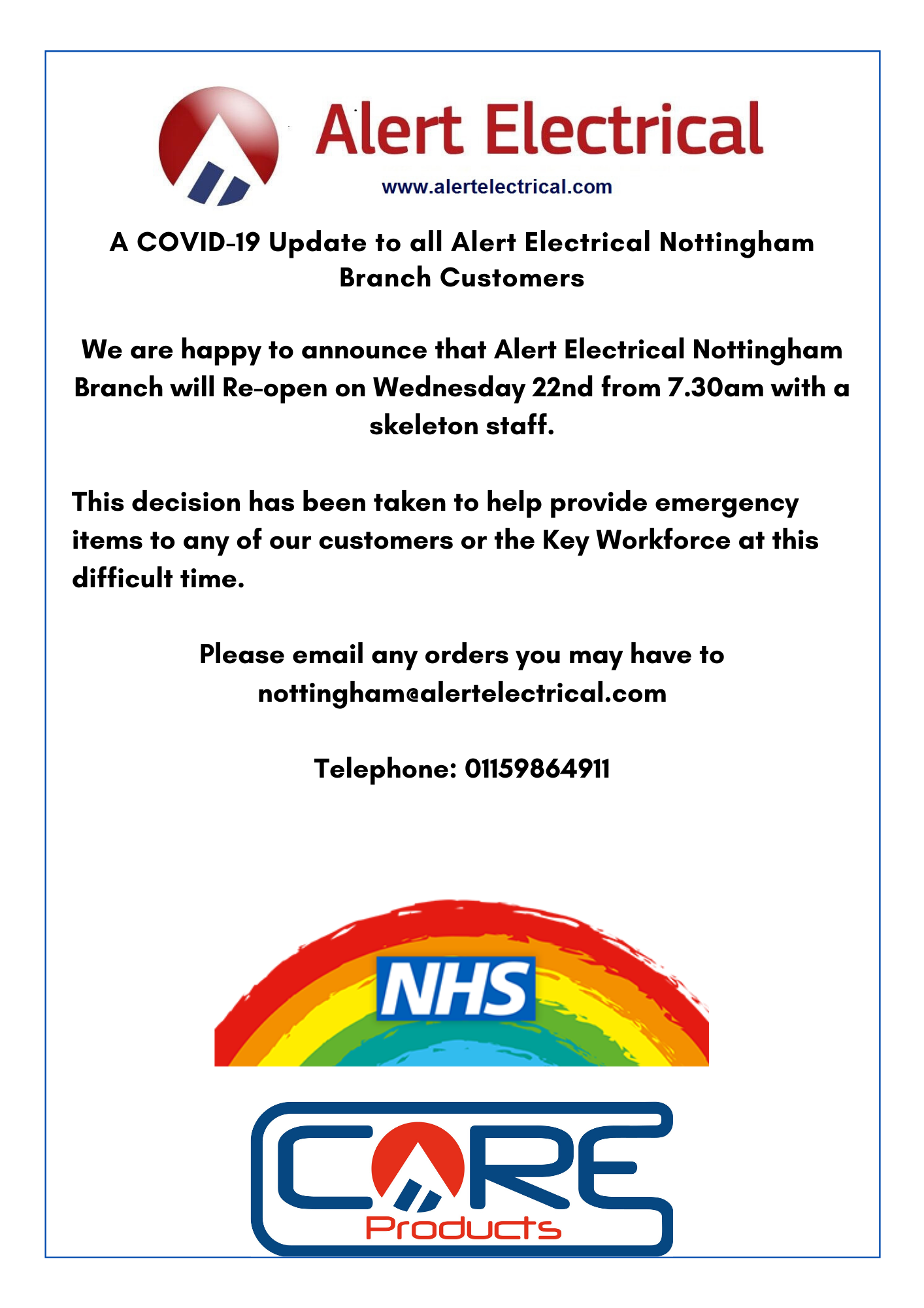 A COVID-19 Update to all Alert Electrical Nottingham Branch Customers