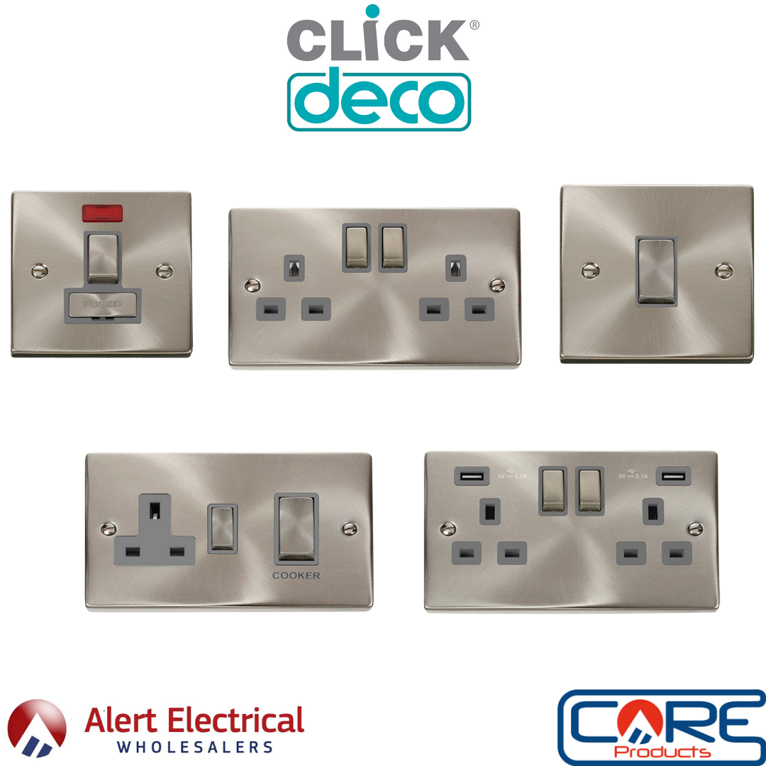Click Deco Ingot Satin Chrome Switches & Sockets now available with grey inserts