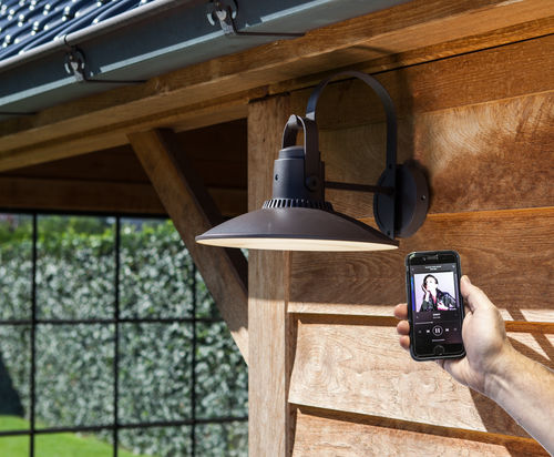 Enjoy Your Favourite Music Outdoors with the Darli LED Coach Lantern with Bluetooth Speaker from Lutec Lighting