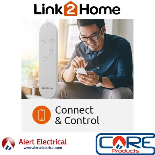 Brighten and Dim Your Link2Home Smart Lighting with the Link2Home Remote Control.