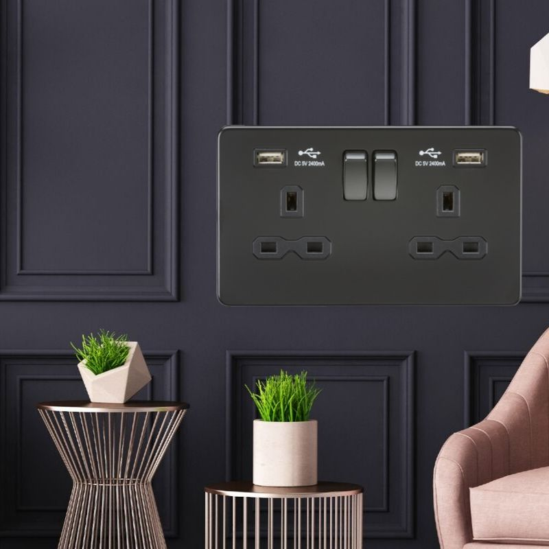 The Perfect Finishing Touch to any Modern Home. Matt Black Screwless Switches & Sockets from ML Knightsbridge.