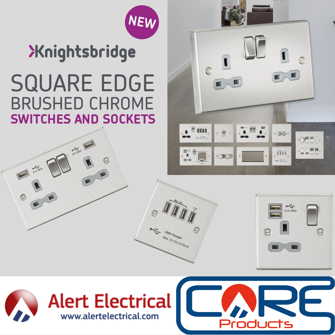 ML Knightsbridge Raised Edge Grey Insert Switches and Sockets Now Available at Alert Electrical