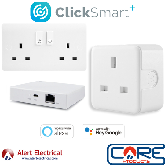 Now available from Alert Electrical. The Click Smart Plus range of smart home controls.