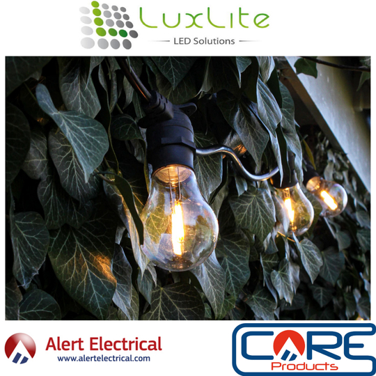 Connectable IP44 Festoon Lighting from Luxlite now available at Alert Electrical