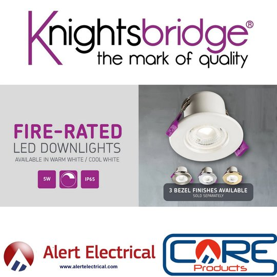 New at Alert Electrical. MLA Knightsbridge 230V IP65 5W Fire-Rated LED Warm or Cool White Downlights