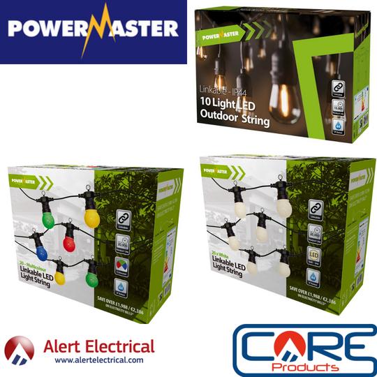 PowerMaster Lighting LED IP44 Festoon String Lights now available at Alert Electrical
