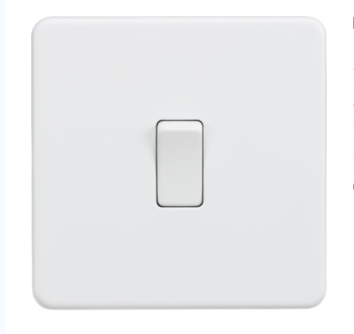 Knightsbridge Screwless Matt White Light Switch