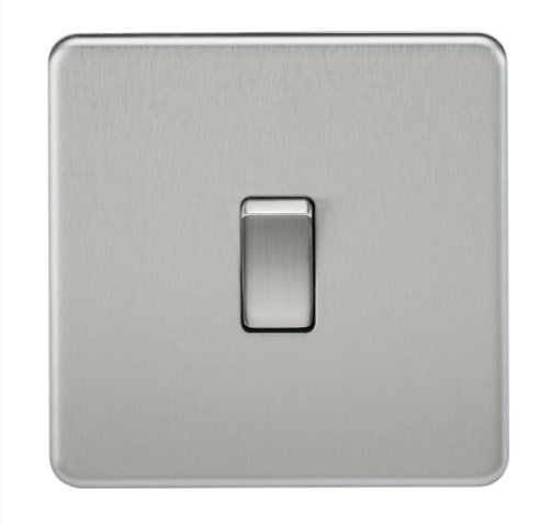 Knightsbridge Screwless Brushed Chrome Light Switch