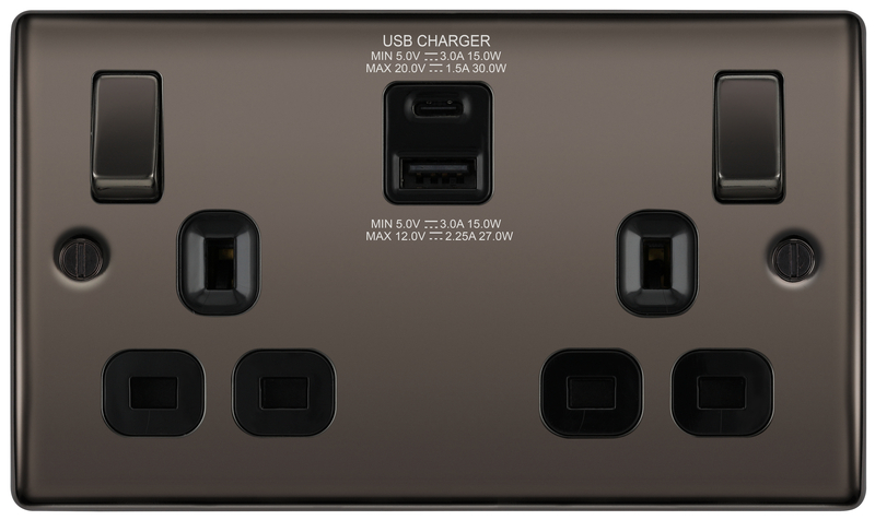 BG Nexus Black Nickel 13A Socket with 30W Type A + C USB Black Insert   NBN22UAC30B