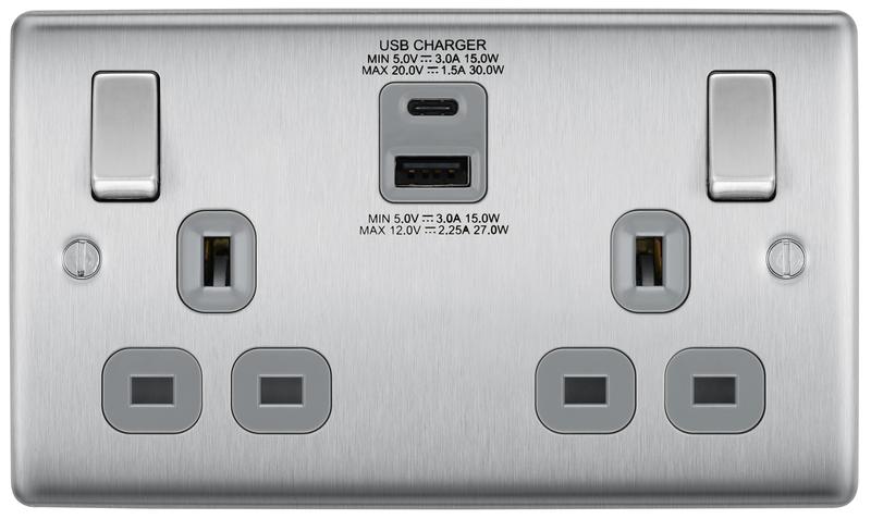 BG Nexus Brushed Steel 13A Socket with 30W Type A & C USB Grey Insert   NBS22UAC30G
