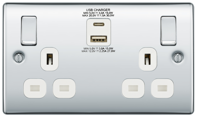 BG Nexus Polished Chrome 13A Socket with 30W Type A + C USB Grey Insert   NPC22UAC30W