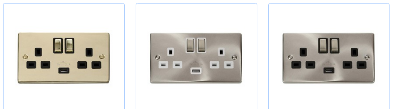 Different styles of USB socket
