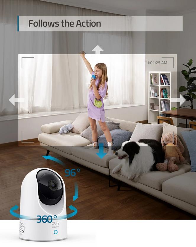 Eufy Solo IndoorCam 2K Pan and Tilt Plug-in Indoor Security Camera | T8410223