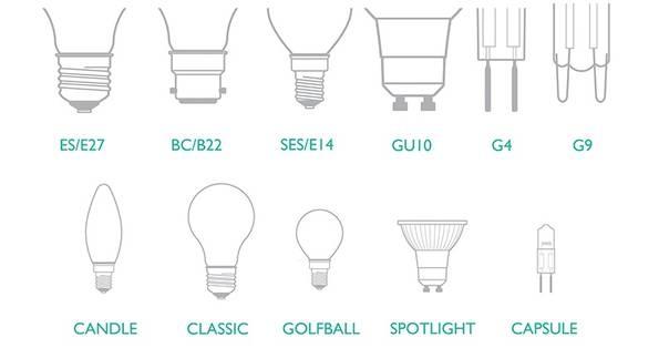 LED Light Bulbs Fitting & Cap options